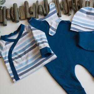 Babyset mit Baby Wickelshirt, Babyshirt, Babyoberteil, Babypulli, Wickelpulli