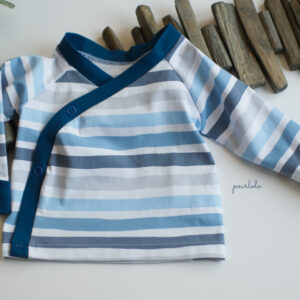 Wickelshirt_Stripes blau Baby Wickelshirt, Babyshirt, Babyoberteil, Babypulli, Wickelpulli